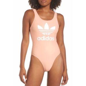 Adidas Peach Trefoil High Cut One Piece Swimsuit L